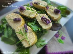 Gefilte Fish with Edible Flowers--perfect way to serve fish on Shavuot.