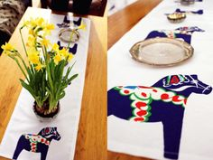 Tablecloth. Dala Horses in genuine Swedish spirit.