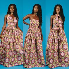 African print infinity dress can be worn more than 6 different ways, 2 side pockets. Made with 100% cotton high quality African print wax fabric.