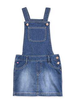 Jardineira Jeans Infantil Menina Com Estampa