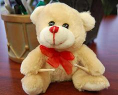 """Teddy Bear with Drumsticks. Are you ready for Valentines Day? This cute little bear would be great with a card that says, """"You make my heart beat."""" The perfect Valentine's day gift for a drummer or any musician whether they play guitar, piano, bass, drums or violin. Is your musician in the school band, orchestra or symphony? Perfect for them too! A unique, original gift idea. You can't 'beat' this cute little bear as the perfect gift for your loved one…"""