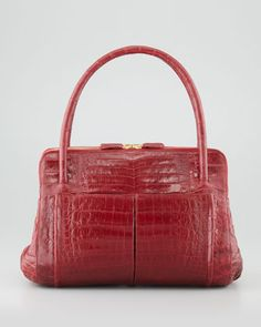Linda Small Crocodile Satchel Bag, Red by Nancy Gonzalez at Bergdorf Goodman.
