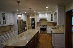 Custom White Kitchen Cabinetry with Stained Island Kitchen Cabinetry, Cabinets, Contractors License, Custom Cabinetry, The Prestige, Entertainment Center, Countertops, Virginia, Kitchen Island