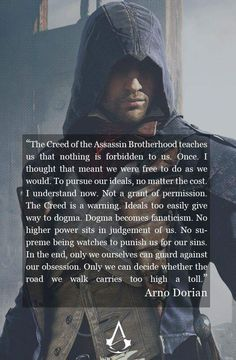Arno Victor Dorian Assassins Creed Unity by TheNightBeforeLast Assassins Creed Quotes, Assassins Creed Odyssey, Arno Victor Dorian, Freddie Mercury Zitate, Gamer Quotes, All Assassin's Creed, Assains Creed, Video Game Quotes, Videos