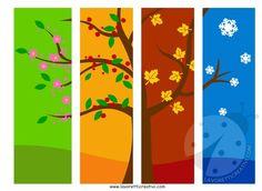 Quattro stagioni Lavoretti per bambini della Scuola Primaria: attraverso la stampa dei disegni è possibile rappresentare questo allegro albero.