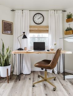 She explains her exact process for designing this small home office for two in their RV makeover! These home office ideas on a budget will give you some great ideas for creating a work space you love. See before and after photos of this RV home office setup in the post! #joyfullygrowingblog #rvhomeoffice #homeoffice #officedecor