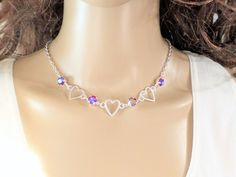 Open Hearts,Swarovski Crystal Necklace, Adjustable, NEW Matte Silver, Great Gift, 8MM Stones, DKSJewelrydesigns