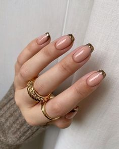 Sexy Nails, Trendy Nails, Cute Nails, Stylish Nails, Gold Tip Nails, Gel Nails With Tips, Uñas Diy, Nail Jewelry, Minimalist Nails