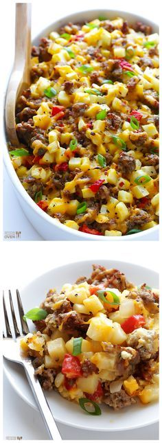 Easy Cheesy Breakfast Casserole -- full of sausage, eggs, hash browns and cheese, and perfect for the weekend! gimmesomeoven.com #brunch