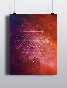 A bright, beautiful, simple design featuring the mysterious and powerful sacred geometry of the Sri Yantra.