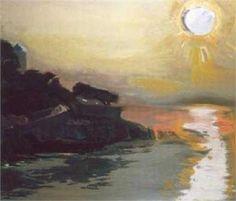 Sunset - Panayiotis Tetsis Greek Paintings, 10 Picture, Greek Art, Art Database, Love Art, Impressionism, Greece, Landscape, Artist