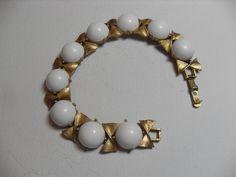 Vintage White Lucite bracelet, Gold tone white Lucite cabochons, vintage white bracelet, gift for her,  Gingerslittlegems by GingersLittleGems on Etsy