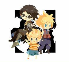Lucas, Cloud, and Bayonetta