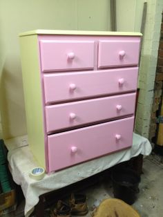 Pink and yellow decoupage chest of drawers little girl's room cute painted furniture