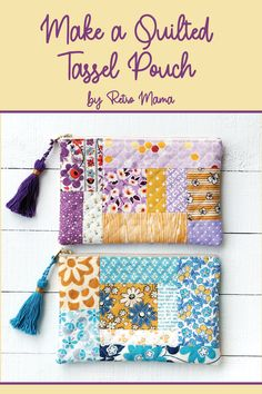 retro mama: Quilted Tassel Pouch Tutorial – Keep up with the times. Small Sewing Projects, Sewing Projects For Beginners, Sewing Hacks, Sewing Tutorials, Sewing Patterns, Sewing Tips, Quilted Purse Patterns, Bag Tutorials, Bag Patterns