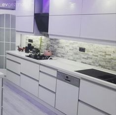Beyaz mutfak, Modern mutfak, Mutfak, Tezgah arası seramik