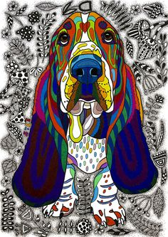 Animal Drawing - Basset Hound by Please Draw My Dog