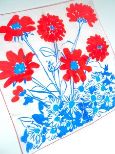Joy Filled Daisy - a vintage 1970's hand-painted Vera Neumann Pure Silk scarf - Made in USA.