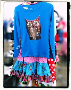 Whoot do You Love   2pc Owl set  Bohemian skirt and by V3STIOs on Etsy, $34.99