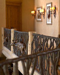 Rustic custom mountain home railing.. .