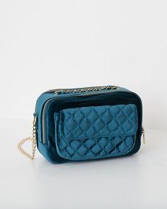 $399 Pull&Bear - mujer - accesorios - bolsos - bolso terciopelo acolchado - azul - 09820341-I2016