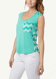 Cute chevron tank top, I don't know if I could fit the jeans