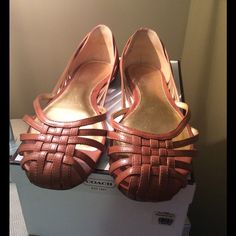 Coach Flats Selling a nice pair of Coach Flat shoes. Have the box. Natural color. Leather and gold inside. Gently used. Great for spring and summer. Coach Shoes