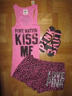xmas- short and tank or tshirt or long sleeve no pants Cute Pjs, Cute Pajamas, Go Pink, Pink Love, Pink Outfits, Cute Outfits, Casual Outfits, Victoria Secret Outfits, Victoria Secrets