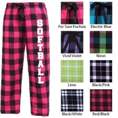 Softball Drawstring Flannel Pants, with 8 colors to choose from!