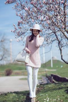Spring uniform: White tights, pink knit sweater & Valentino Rockstud lookalikes
