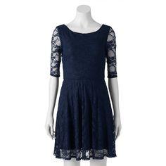 Juniors' Wrapper Floral Lace Skater Dress