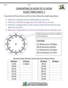 Here you will find our 24 Hour Clock Conversion Worksheets. These sheets will help you child to learn to convert times between the 12 and 24 hour clock. Teaching Clock, Teaching Time, Teaching Math, Teaching Ideas, Measurement Activities, Math Activities, Math Resources, Math Games, 24 Hour Clock Worksheets