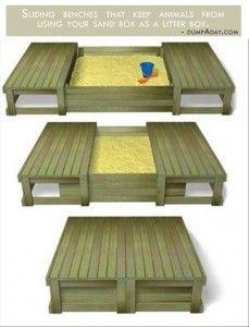 Genius Ideas- Covered sand box.  So Cool