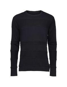 Poor sweatshirt - Men's sweatshirt in cotton fleece. Features contrasting panels of reversed and regular fabric. Flatlock stitching at sleeve seam. Below-hip length. Men's Sweatshirts, Tiger Of Sweden, Cotton Fleece, Stitching, Contrast, Fitness, Fabric, Sleeves, Sweaters