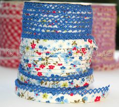 Etsy site with cute bias tape and notions. Bias Tape  Double Fold White Floral and blue lace Cotton and Crochet Lace. $1.75, via Etsy.