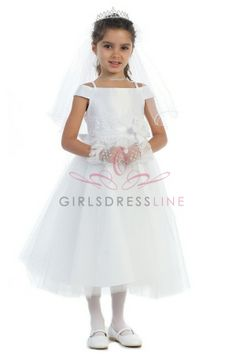 White Lace Beaded Flower Girl Dress with short sleeves