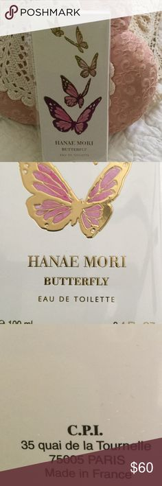 Hanae Mori Au De Toilette Hanae Mori Eau De Toilette 🦋Spray. 3.4 OZ. Made in France. New, unused bottle with the cellophane still on the package. It is the original Butterfly scent. This is the most lovely scent that every where I go, people ask me what I am wearing. It is also the largest bottle they sell.  NWOT Received as gift and already have some. Hanae Mori Butterfly Other