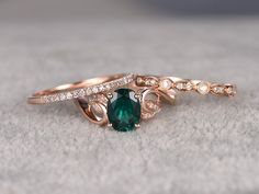 3pcs Emerald Engagement Ring Set Diamond Matching Band Rose Gold Vintage Flower Thin Stacking 14K/18K