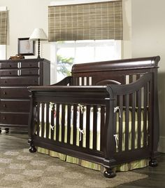 Crib converts to a toddler/youth bed and then finally to a full-sized bed. At Rosenberry Rooms.