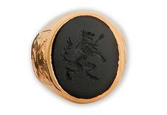 Black Onyx Heraldic Hairy Wolf Looking Sinister Rampant  by Regnas, $269.00