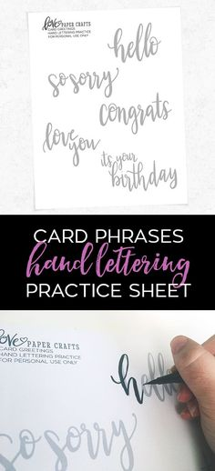 Card phrases free printable hand brush lettering practice sheet