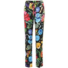 Gucci Printed Silk Pyjama Trousers ($925) ❤ liked on Polyvore featuring jeans, multicoloured and gucci