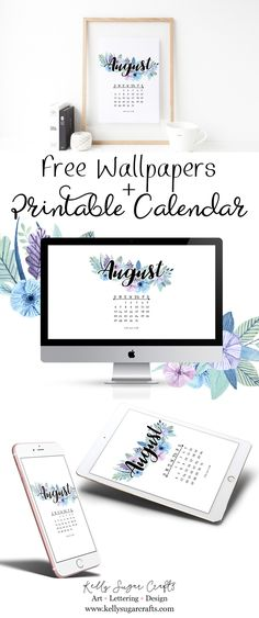 Free August 2017 Printable Calendar and Tech Wallpapers by Kelly Sugar Crafts. Desktop, iPhone, iPad, tablet, phone background wallpapers.