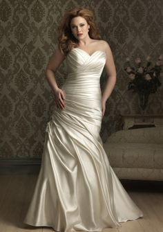 A-line Sweetheart Strapless Court Train in Satin Plus Size Wedding Dress