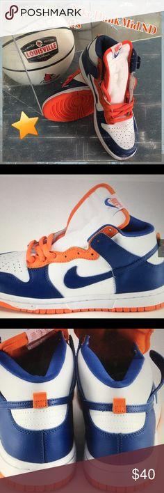 ❤️️Nike  Youth Dunk Mid ND Tennis Shoes A pair of youth Nike Dunk ND shoes featuring a white and blue upper with an orange blaze, sole and shoestrings. Brand New with Box. I rather not ship with the box because of the extra cost that it incurs but am happy to ship at the extra cost to the buyer. Nike Shoes Sneakers