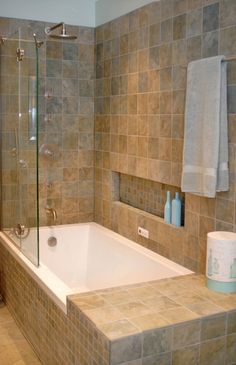 Modern Tub Shower Combinations Traditional Bathroom Tile Idea And Horizontal Wall Niche With Towel Grab
