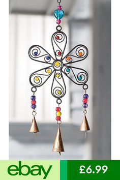 Flower Windchime with Mixed Beads > Windchimes, Mobiles, Light Catchers & Bells > Home & Gifts > Namaste Fair Trade > Namaste-UK Ltd Wire Crafts, Bead Crafts, Diy And Crafts, Arts And Crafts, Wooden Wind Chimes, Sun Catchers, Art Fil, Art Perle, Copper Art