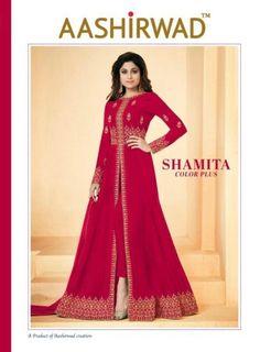 976a4ea5cec Ashirwad creation Shamita colour plus designer party wear anarkali dress  latest catalog in surat at Wholesale Price. INR 11370 pcs Georgette Latest  catalog ...