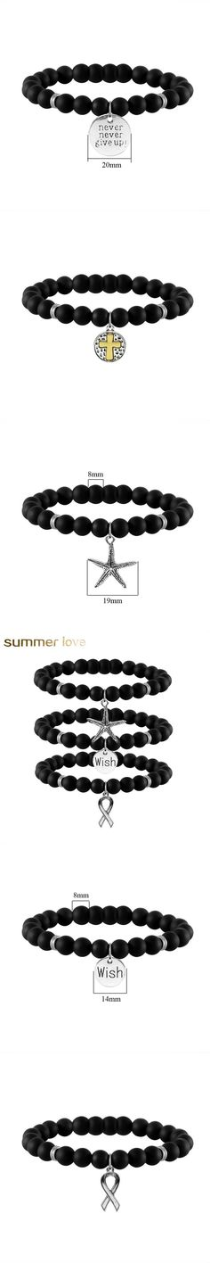 Beads Bracelet Wish/Starfish/Cross/Anchor pendant Black Matte Stone Bracelet for Women Men Stretch Energy Bracelet 2017 New