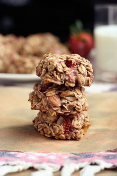 strawberry coconut breakfast cookies-these are very tasty, and luckily, very healthy.  The kids love them!  And we even get to call them a cookie, so they feel like they're getting a treat! The only thing different I did was use ww flour instead of oat flour because I didn't feel like making oats into flour.